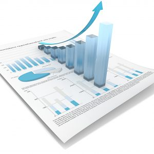 Abstract financial document with 3d graph of frosted glass.